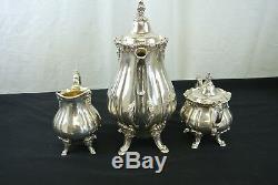 Vintage Silverplate Wallace Baroque Tea /Coffee Set, Sugar, Pot & Creamer