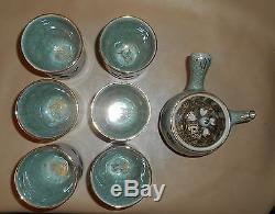 Vintage Somayaki Japanese Tea Pot Sake Set Double Wall Gold Trim Porcelain 6 Cup