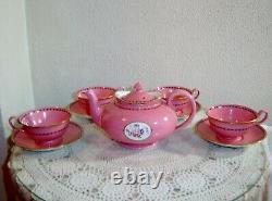 Vintage Spode Copelands England Pink Teapot with 4 Cups and Saucers