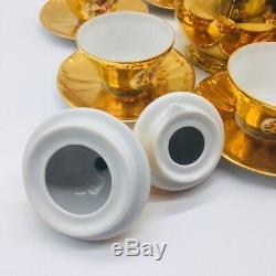 Vintage Tea Set Gold Plated Bareuther Waldsassen Bavaria Germany Demitasse Set