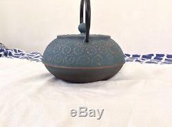 Vintage Teapot Cast Iron Nambu Tekki Japanese Japan Turquoise Blossoms