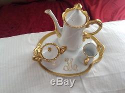 Vintage Teapot Tray Cup Set 4 piece Evelyn C Drinkard Porcelain Unique