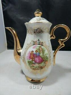 Vintage Versailles Porcelaine Tea Set Teapot, Creamer, Sugar, 5 Cups & Saucers