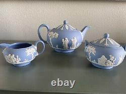 Vintage Wedgwood Blue Jasperware Tea Set, Lg. Teapot, Sugar bowl Creamer. 1956