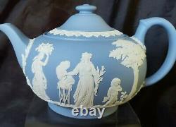 Vintage Wedgwood Blue Jasperware Tea Set Teapot Cream and Sugar Bowl BEAUTIFUL