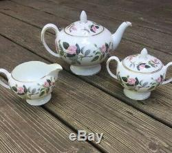 Vintage Wedgwood Hathaway Rose Bone China Tea Set Teapot Creamer Sugar #14