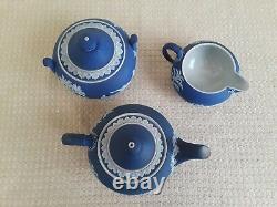 Vintage Wedgwood Portland Blue Jasperware Teapot Creamer Sugar Cups Saucers Set