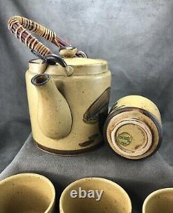 Vintage Wony LTD. Japan Mushroom Teapot Tea Set FOUR Teacups Asian Pottery