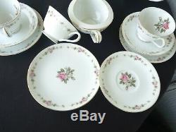 Vintage noritake rc tea set for 6 teapot 6 cups & saucers floral pink roses
