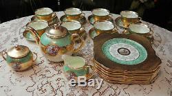 Vntage LONGTON England Bone China TEA Pot SET/ DESSERT SERVICE for 8 -Heavy Gold