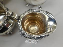 Vtg Gorham Sterling Silver STRASBOURG Tea Coffee Pot Set 5 Pieces Sugar Creamer