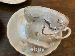 Vtg Luster Dragon Japan Tea Set 5 Cups & Saucers, 6 Plates, Tea Pot Creamer Sugar