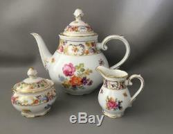 Vtg Schumann Arzberg Empress Dresden Flowers Teapot Creamer Sugar Bowl Set