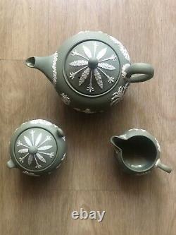 Wedgewood Jasperware Celedon Set of 3 Teapot, Sugar Bowl, Milk Jug
