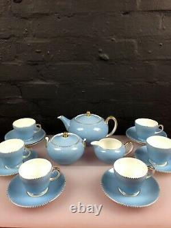 Wedgwood April Beaded Powder Blue 17 Piece Tea Set Cups Teapot Jug Sugar Saucers