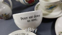Wedgwood Beatrix Potter Peter Rabbit 9 pc Childrens Tea Play time Set Teapot