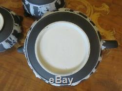 Wedgwood Black Jasper Ware Tea Set Pot Bowl Creamer Cup Service for 4 (c. 1920s)