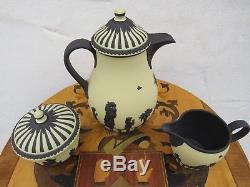 Wedgwood Black Primrose Jasper Ware Coffee Tea Set Limited Edition 48/200 (1980)
