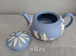Wedgwood Blue Jasperware Tea Set Teapot, Creamer, Sugar, 2 Cups & Saucers 9 Pcs