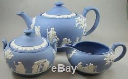 Wedgwood Blue Jasperware Teapot Creamer & Covered Sugar Set / Tea Set
