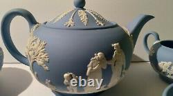 Wedgwood Blue Jasperware Teapot sugar creamer cups set