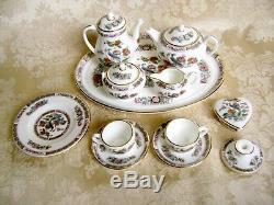 Wedgwood Bone China Kutani Crane Miniature Teapot Coffee/tea Set