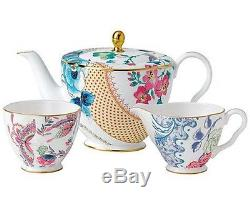 Wedgwood Butterfly Bloom 3 PC Tea Story Set Teapot Sugar Bowl Creamer New In Box