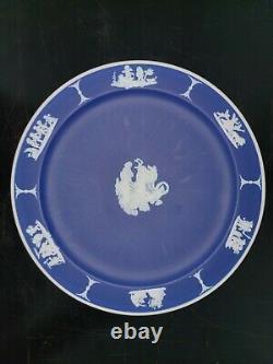 Wedgwood Dark Blue Jasperware Tea Set (Teapot, Creamers and Plate)