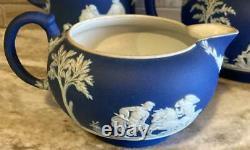 Wedgwood Dark Blue Jasperware Teapot Cream Sugar C. 1891-1900 Tea Set & Pitcher