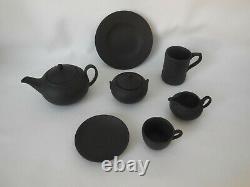Wedgwood Jasperware Black Basalt Miniature Tea Set Sugar Bowl Jug Teapot Mug ++