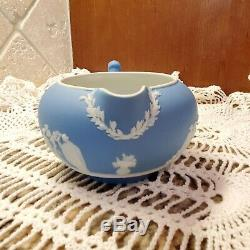 Wedgwood Jasperware Blue Teapot, Sugar and Creamer Set 1929 1969