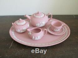 Wedgwood Jasperware Pink Miniature Set Tray Teapot Cup Saucer Creamer Sugar