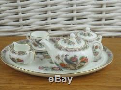 Wedgwood Kutani Crane Miniature Tea Set Tea Cup Tea Pot Milk Jug Sugar Bowl