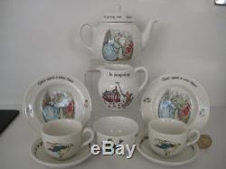 Wedgwood Miniature Peter Rabbit Childrens Tea Set Teapot Trios Jug Bowl Teaset