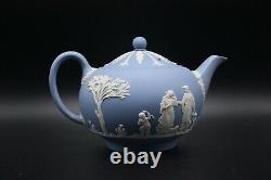 Wedgwood Pale Blue Jasperware Large Teapot, Sugar & Creamer Set