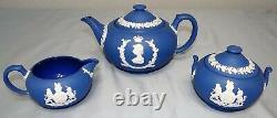 Wedgwood Royal Blue Jasper Elizabeth II Coronation Tea Set Teapot Creamer Sugar