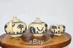 Wedgwood Yellow Jasper Ware Tea Set (Teapot Bowl Creamer) Black Relief (c. 1920s)