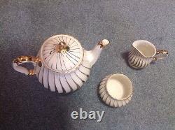 White & Gold Art Deco Sadler Teapot Sugar Creamer Set Signed and Numbered 2737