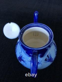 William Moorcroft signed Macintyre Florian Ware Tea Set teapot, creamer, sugar